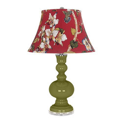 "Color Plus - Contemporary Rural Green Red Botanical Shade Apothecary Table Lamp - Rural Green glass table lamp. Red botanical print bell shade. Lucite base. Maximum 150 watt or equivalent bulb (not included). On/off switch. 30"" high. Shade is 10"" across the top 17"" across the bottom 11"" on the slant.   Rural Green glass table lamp.  Red botanical print bell shade.  Lucite base.  Maximum 150 watt or equivalent bulb (not included).  On/off switch.  30"" high.  Shade is 10"" across the top 17"" across the bottom 11"" on the slant."