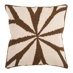 """Surya FA011-1818D 80% Wool / 20% Cotton 18"""" x 18"""" Decorative Pillow - Resembling the leaves on a flower, this trendy design brings today's style right to your room. Colors of brown and ivory accent this decorative pillow. This pillow contains a down fill and a zipper closure. Add this 18"""" x 18"""" pillow to your collection today. Filler: Down Feathers. Shape: Square"""