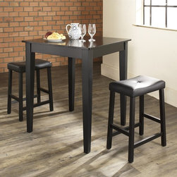 Crosley Furniture - 3 Pc Pub Dining Set w Tapered Leg and Saddle - Includes Pub Table and 2 Stools in Black. Solid Hardwood & Veneer Construction Table . Solid Hardwood Stools. Hand Rubbed, Multi-Step Finish. Solid Hardwood Tapered Legs. Durable Stain Resistant Faux Leather PVC Seat. Table Dimensions: 36 in. H x 32 in. W x 32 in. D. Stool Dimensions: 24 in. H x 17.75 in. W x 11.5 in. DConstucted of solid hardwood and wood veneers, the 3 piece Pub / High Dining set is built to last. Whether you are looking for dining for two, or just a great addition to the basement or bar area, this set is sure to add a touch of style to any area of your home.