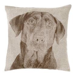 Fresh American - Black lab Decorative Pillow 22x 22 linen - Black lab Decorative Pillow 22x 22 linen