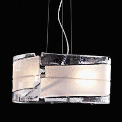 "AVMazzega - AVMazzega Riflessi SO3067 Pendant Light Large - The Riflessi pendant light by AVMazzega has been designed by M & M. This artistic hand-blown glass has been made on the island of Murano in Italy. This fixture comes with a chrome-plated metal frame and a 9' foot suspension cord is included.   Product Details:    The Riflessi pendant light by AVMazzega has been designed by M & M. This artistic hand-blown glass has been made on the island of Murano in Italy. This fixture comes with a chrome-plated metal frame and a 9' foot suspension cord is included.   Details:     Manufacturer:   AVMazzega     Designer:  M & M     Made in: Italy    Dimensions:   Height: 8"" (21 cm) X Width: 16 1/2"" (42 cm)      Light Bulb:    2 X 150W Incandescent     Material:   metal, glass      Information about AVMazzega and Murano glass:   The artistic Murano glass is more than 1000 years old and yet it can express beauty and colour in an original and fashionable way and it adapts to the steady change of the taste and of the creative possibilities.  The modern process of industrial production have sometimes dimmed the real core of the Murano glass manufacturing: high manual skills, fine knowledge of the hand working techniques of the glass, preservation of the ancient conventional transmitted from Master to Master over the centuries.  AV MAZZEGA is a furnace that produces handcrafted glass works, without industrial process: only the hands and the conventional expertise of the glass Masters allow a production of pieces that are exclusive, unique and bound to increase their value during the years.  AV MAZZEGA glass is coloured in mass by including, during the melting process, colouring agents: the colour does not change or alter even after several years, there is no risk of chromatic impoverishment due to the cold working application of coloured varnish or ceramic enamels. 6  In detail, the milk glass 1-2-3-4 is hand worked through several 'levade"" (Murano's dialect word that refers to the superimposing of layers of glass obtained by dipping the glass in various glass pots) and in this way the final effect is an extraordinary variety and final quality in the shades of colours and nuances: a result impossible to achieve in the industrial glass production.  The thickness of the glasses made in AV MAZZEGA'S furnace can not be always perfectly regular 1-2-3-4-5 because they are created by the hand of the Master and not by mechanical automatisms. 6  This distinguishing mark means quality and not inaccuracy creative uniqueness and not cold mechanical donation.  AV MAZZEGA is the furnace where the glass Master are proud to be creators of beauty and each day they melt in the glass the ancient, innermost ambition of the perfect work."