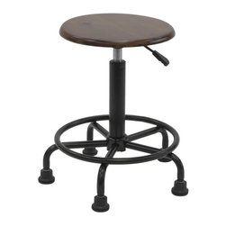 Studio Designs - Retro Drafting Stool - Oak - Overall Dimensions: 19 in. W x 19 in. D x 19.25 in.  - 26 in. H.  Pneumatic Seat Height Adjustment: 19.25 in.  - 26 in.  High.  Antique Design and Finish.  Powder Coated Steel Base and Footring for Durability.  Extra Wide 19 in.  Diameter Base for Stability.  5 Point Base with Large Nylon FeetFunctional Antique Design, the Retro Stool is ideal for artists and draftsmen alike. The pneumatic gas lift beneath the stool smoothly raises the seat from a height of 19 in.  to 26 in.  for nearly effortless versatility. Includes a sturdy powder coated steel 5 point base with large nylon feet and extra wide diameter base for stability.