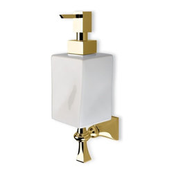 StilHaus - Classic Wall Mounted Gold and Ceramic Soap Dispenser - Wall mounted contemporary style square soap dispenser. Hand gel dispenser container is made out of ceramic in a white finish. Lotion dispenser mount and pump is made out of brass with a gold finish. Made in Italy by StilHaus. Contemporary style wall soap