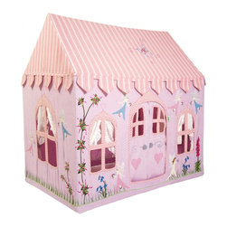"""Wingreen - WinGreen Large Cotton Playhouse - Fairy Cottage - Do you believe in fairies at the bottom of the garden...? At Win Green we do!! Make a wish and have hours of fun playing in our pretty pink and lilac Fairy Cottage. appliqued and embroidered with delicate fairies, bluebells, foxgloves and butterflies. 100% cotton. Easy to assemble with a light metal frame. Storage bag included. Size: 52.75"""" long x 43.30"""" wide x 64.96"""" high."""
