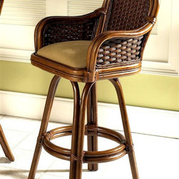 Boca Rattan - Moroccan Rattan Barstool w Arm in Urban Mahog - Fabric: 957A bamboo base and a woven rattan back and arms give this stylish bar stool an island inspired appeal that will be a warm addition to your home's decor. Perfect for a sun porch or deck area bar, the stool is finished in urban mahogany and features an upholstered cushion seat in your choice of color options. Cushion included. Indoor use only. Leather bindings. Constructed from strong and durable rattan. Weight limit: 250 lbs.. Seat height: 31.5 in. H. 22.5 in. L x 22 in. W x 44 in. H (25 lbs.)