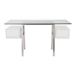Euro Style - Euro Style Collette Desk // Brushed Stainless Steel/Matte White Drawers - This sleek affair almost has the feel of a cockpit. You're centered on a tempered glass desktop and two ample drawers appear suspended on either side of your seated position. Everything works better when it's intelligently designed and fresh to the eye, including you. This is a showpiece for any office.
