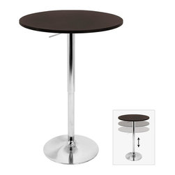 Lumisource - Adjustable Bar Table with Wood Top - 23.5 in. Diameter x 41 in. H (ext). Table Height: 26 - 41 inchesThe Adjustable Bar Table is versatile for many uses.  From a range of 26 to 41 inches in height, it can be used as an intimate table for two or a bar table at a party!  Comes with wood top measuring 23.5 inches in diameter and polished chrome pole and base.