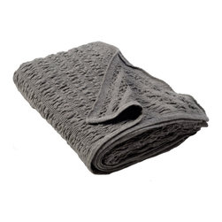 Sefte - Sefte Kai Woven Charcoal Throw Blanket - Named for a Peruvian word for��_ Aoater,' the gathered weave structure in the charcoal gray Kai throw blanket represents the ripples and waves of the sea meeting the shore. Embodying a contemporary minimalism, Sefte designs are handmade by artisans with a focus on luxury and sustainability. Available in standard and large sizes; 100% baby alpaca (the finest shearing from an adult), renowned for its ultra soft hand; Lightweight structure is warmer than wool; Sefte follows Fairtrade practices; Environmentally-friendly, oeko-tex standard dyes; Dry clean only