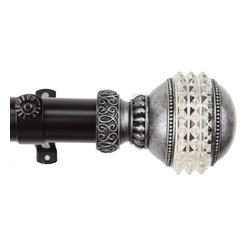 "Rod Desyne - Gemstone 1.5"" Curtain Rod 28"" - 48"" - Black - Rod Desyne is pleased to introduce our designer-looking Gemstone Drapery Rod. This elegant drapery rod will add alluring style and refined touch to your window treatment and home deocr.; One 1.5 inch diameter adjustable pole, extends 28-48 inch; Two Gemstone finials, each measures: L 4.5"" x H 3.25"" x D 3.25""; Includes mounting hardware and 3 inch projection brackets (2 brackets).; Material: Steel rod and brackets / poly resin finial; Color: Black; Weight: 4.58 lbs; Dimensions: 1.5""H x 28""W x 4.5""D"