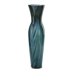 Cyan Design - Cyan Design Tall Peacock Feather Vase X-12920 - From the Peacock Feather Collection, this trendy Cyan Design vase uses slender wafts of color to recreate a feathery visual texture. The slender body also features gentle cinching at the neck, with glass construction and a Multi Colored Blue color palette that is sure to please.
