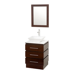 Wyndham Collection - Rioni Espresso with White Glass Top with White Porcelain Sink - The Wyndham Collection presents another exclusive design, the Rioni pedestal bathroom vanity. Three drawers provide ample storage and the contemporary styling is elegant in any modern bathroom setting.
