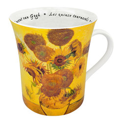 Konitz - Set of 4 Famous Art Mugs 'Les Fleurs Chez Les Peintres' - Van Gogh - The sunny yellow still-life shown on this mug is Les quinze tournesols, better known as Sunflowers by Vincent Van Gogh. French script writing on the interior reads the name of the artist and painting.