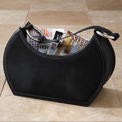 Black Magazine Holder - This magazine holder is so pretty, you may be tempted to use it as a purse.  My favorite part of the design of this piece is the strap that makes it easy to carry it to any room or to your favorite reading nook.