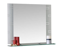 Decor Wonderland Mirrors - Decor Wonderland Frameless Rectangle Wall Mirror - Strike a pose in front of this stylish and super modern frameless wall mirror with etched design on frosted glass background. Perfect mirror for bathroom.