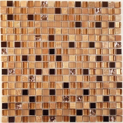 "Euro Glass - Antique Copper 5/8"" x 5/8"" Gold Opulence Series Glossy & Frosted Glass and Stone - Sheet size: 11 7/8"" x 11 7/8"""