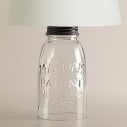 Mason Jar Accent Lamp Base - Who doesn't love a mason jar–anything these days? This one is a keeper with the etched name and shiny lid.