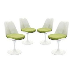 "LexMod - Lippa Dining Side Chair Set of 4 in Green - Lippa Dining Side Chair Set of 4 in Green - The Lippa Side Chair adds the perfect modern classic touch to any dinning space. Sturdy, easy to clean and lovely to behold, these chairs elevate a meal to whole new levels of enjoyment. Available in an array of colors, the Lippa Chair makes it easy to express your individual style. Set Includes: Four - Lippa Side Chair ABS Plastic Seat, Aluminum Base, Cloth Cushions Overall Product Dimensions: 21""L x 20""W x 32.2""H Seat Height: 19""H - Mid Century Modern Furniture."