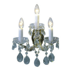 """Inviting Home - Maria Theresa Crystal Sconce (Select Crystal) - Maria Theresa style crystal sconce with cut crystal trimmings; 12""""W x 9""""D x 15""""H; assembly required; 3 light select Maria Theresa style crystal sconce with hand-molded arms and cut crystal trimmings; all metal parts have gold finish; genuine Czech crystal; ready to ship in 2 to 3 weeks; This wall sconce is a part of Maria Theresa Collection. At their start the chandeliers bearing the name of Maria Theresa were made on the occasion of the Empress's coronation as queen of Bohemia in 1743. This fact is hidden in the shape of these lighting fixtures reminiscent of the royal crown. Their characteristic feature is the arms' typical flat surface clad with glass bars. The bars are fixed to the arms by glass rosettes and beads with dangling cut crystal chandelier trimmings. These ravishing fixtures were inspired by a chandelier made for Maria Theresa in Bohemia in the mid 18th century. However not only the empress became fond of it; so did many others who fancied the style and the majestic manners after her. Typical elements are metal arms overlaid with glass bars and decorated with crystal rosettes. Originally the trimming was made of typical flat drops called """"pendles"""". Today trimmings of various shapes are used. Select crystal (or standard). Hand cut or partly machine cut chandelier trimmings. Inspired by rich glassmaking tradition as well as modern trends these crystals are characterized by distinct fire rainbow sparkle and purity of shape. Each piece is checked for accuracy of cut and its high quality is guaranteed. They will satisfy even the most discriminating customers. Chandelier trimmings of the Select type offer an opportunity to those searching for quality at a great value. Every component passes thorough strict internal Quality Control processes. Highest quality European production with certified standards. The tradition of production luxurious appearance and classical morphology are the common deno"""