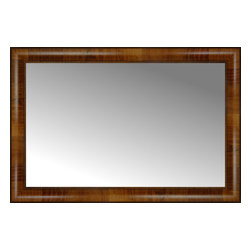 """Posters 2 Prints, LLC - 31"""" x 21"""" Belmont Light Brown Custom Framed Mirror - 31"""" x 21"""" Custom Framed Mirror made by Posters 2 Prints. Standard glass with unrivaled selection of crafted mirror frames.  Protected with category II safety backing to keep glass fragments together should the mirror be accidentally broken.  Safe arrival guaranteed.  Made in the United States of America"""