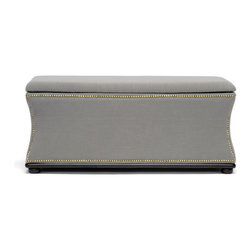 Wholesale Interiors - Liverpool Beige Linen Modern Storage Ottoman and Bench - There's no trade-off here: get the convenience of hidden storage with the classic look of beige linen. Our Liverpool Modern Storage Bench does triple duty as an ottoman, storage trunk, and bench. The hinged lid features a locking mechanism that keeps it propped upright when desired. Made of eucalyptus wood in China, this versatile beauty is comfortably padded with polyurethane foam on the exterior and black fabric lining on the interior. A black wood base and legs are finished with non-marking feet for protection of sensitive flooring. Antiqued bronze nail head trim flanks the edges. Assembly is required as is spot cleaning when necessary. A dark gray option of the Liverpool Modern Storage Ottoman is also offered (sold separately).