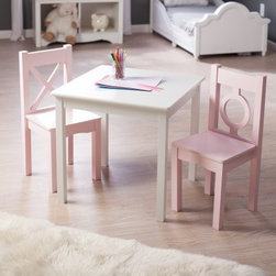 Lipper Hugs and Kisses Table and 2 Chair Set - White & Pink - Everything is prettier in pink right? Especially the Lipper Hugs and Kisses Table and 2 Chair Set - White & Pink. Inspired by interior designer Robyn Karp and her love of color and geometry this set is crafted of durable engineered wood and finished in crisp white and pastel pink for a blast of color in the bedroom or playroom. Sturdy and strong each of the two chairs supports up to 200 lbs. A perfect set for the imaginative kid who loves to color craft or simply create! About Lipper InternationalLipper International provides exceptionally valued kitchen home & office organizers including the Soho Spice Collection; single serve coffee pod organizers; kitchen pantryware cutting boards and tools; serving & entertaining accessories; and children's furniture and toy chests. Lipper uses the finest quality materials including stainless steel bamboo acacia wood chrome- and powder-coated metals and other fine quality hard woods. Known for product functionality as well as beauty and quality craftsmanship Lipper International combines quality style service and price into every product and collection it offers.