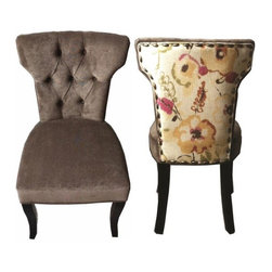 """Flora Tufted 18"""" Chair, Set of 2 - These elegant light brown and floral chairs are sure to add style and class to your dining room, sitting area, living room, or even bedroom. If you are looking to make a statement, no need to look any further. Features include tufted back, accent floral fabric on back, and nail button trim. This stool has a seat height of 18""""."""