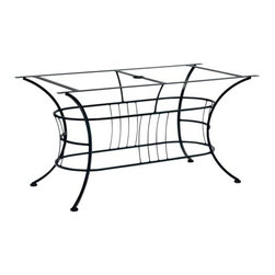 Woodard - Woodard Easton Wrought Iron Large Dining Table Base Only - The Woodard Easton furniture collection is a design lesson in the effective use of arcs and angles. Its expressive use of geometric figures � made of durable wrought iron no less � is the creative handiwork of Woodard�s master artisans. Each piece includes many subtle upscale details that let you know that this set will give you complete satisfaction for years to come. Look at the symmetry and precision in the wrought iron chair backs the table bases and Easton wrought iron patio loveseat. You won�t find this level of workmanship in other manufacturers� outdoor patio furniture.With the Easton furniture collection you have free range to customize your set from the powder coated rust-fighting finishes on the frames to the standard and designer fabric options including trim detail and chair ties in more than 30 colors and design choices. If you have other outdoor furniture for example a patio furniture glider from another maker you can get a replacement cushion for it and blend it in with the Easton furniture pieces you select.The name Woodard Furniture has been synonymous with fine outdoor and patio furniture since the 1930s continuing the company�s furniture craftsmanship dating back over 140 years. Woodard began producing hand-made wrought iron furniture which led the company into cast and tubular aluminum furniture production over the years.� Most recently Woodard patio furniture launched its entry into the all-weather wicker furniture market with All Seasons which is expertly crafted and woven using synthetic wicker supported by an aluminum frame.� The company is widely known for durable beautiful designs that provide attractive and comfortable outdoor living environments.� Its hand-crafted technique used to create the intricate design patterns on its wrought iron furniture have been handed down from generation to generation -- a hallmark of quality unmatched in the furniture industry today. With deep seating slings and metal seating options in a variety of styles Woodard Furniture offers the designs you want with the quality you expect.  Woodard aluminum furniture is distinguished by the purest aluminum used in the manufacturing process resulting in an extremely strong durable product which still can be formed into flowing shapes and forms.� The company prides itself on the fusion of durability and beauty in its aluminum furniture offerings. Finishes on Woodard outdoor furniture items are attuned to traditional and modern design sensibilities. Nineteen standard frame finishes and nineteen premium finishes combined with more than 150 fabric options give consumers countless options to design their own dream outdoor space. Woodard is also the exclusive manufacturer of outdoor furnishings designed by Joe Ruggiero home decor TV personality.� The Ruggiero line includes wrought iron aluminum and all weather wicker designs possessing a modern aesthetic and fashion-forward styling inspired by traditional Woodard patio furniture designs. Rounding out Woodard�s offerings is a line of distinctive umbrellas umbrella bases and outdoor accessories.� These offerings are an integral part of creating a complete outdoor living environment and include outdoor lighting and wall mounted or free standing architectural elements � all made with Woodard�s unstinting attention to detail and all weather durability. Woodard outdoor furniture is an American company headquartered in Coppell Texas with a manufacturing facility in Owosso Michigan.� Its brands are known under the names of Woodard Woodard Landgrave and Woodard Lyon Shaw. With a variety of collections Woodard produces a wide array of collections that will be sure to suit any taste ranging from traditional to contemporary and add comfort and style to any outdoor living space. With designs materials and construction that far surpass the industry standards Woodard Patio Furniture creates beauty and durability that is unparalleled.