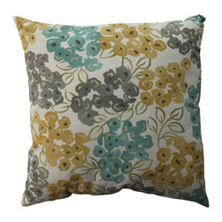 Luxury Floral Pool Aqua Grey Yellow Pillow - - Pillow Perfect Luxury Floral Pool 23-inch Floor Pillow  - Sewn Seam Closure  - Spot Clean Only  - Finish/Color: Aqua/Grey/Yellow  - Product Width: 23  - Product Depth: 23  - Product Height: 5  - Product Weight: 2.5  - Material Textile: 100% Cotton  - Material Fill: 100% Recycled Virgin Polyester Fill Pillow Perfect - 513102