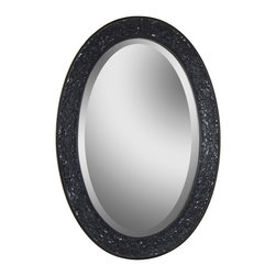 Harmony Oval Mirror - This beveled oval mirror adds sparkle to any room with the iridescent crushed glass border.