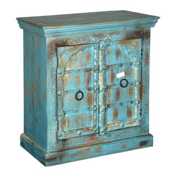 "Sierra Living Concepts - Rustic Blue Wood Kitche Buffet Storage Cabinet - Maximize your storage space and add color to any room with our Sky Blue Rustic Double Door Cabinet. Our two shelf 33"" long multi use storage system has lots of uses. It fits into small spaces and works as a TV stand, Kitchen cabinet, bedside cabinet, or end table."