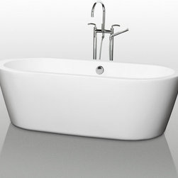 "Wyndham Collection - Wyndham Collection WCOBT100371 White Mermaid Mermaid 71""  Free - Mermaid 71""  Free Standing Acrylic Bathtub with Center Drain The Mermaid Soaking Tub is an expression of modern design, practicality and just plain luxury. Elegant symmetry, soft curves that counter the minimalist lines, and soothing water conspire to coax you into your bathroom haven once again. What could be better? Built to last and always warm to the touch, the Verona Bathtubs are a perfect place to melt away tension and stress, leaving you refreshed, recharged and renewed. Wyndham WC-BT1003-71 Features:  Exterior Dimensions: 33-1/2""W x 71""L x 23-1/4""H Much deeper than standard tubs for full immersion Cable-drive pop-up drain and waste overflow are included and installed. Chrome center drain and overflow are included.  A brushed nickel drain and overflow can be purchased separately (WC-BT-OVERFLOWTRIM). Oval tub shape Warmer to the touch and more comfortable than traditional enamel/steel tubs Acrylic construction for strength and ease of handling and installation Adjustable base for accurate leveling and stability All Wyndham Collection products ship from Southern California Tub Filler NOT included  About Wyndham Collection: Wyndham Collection is a line of bathroom furnishings for those who expect innovation and sophistication. By owning their own factory, Wyndham Collection has complete control over the manufacturing process, and the ability to commit to the quality and longevity of their products. To the consumer, this means that you are guaranteed a tub that was created through thoughtful design and is backed by a full 2-year warranty. This warranty period may not sound like much, but consider this: nearly every other tub manufacturer on the market"