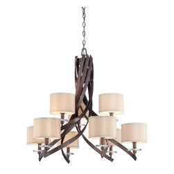 Savoy House Lighting - Savoy House 1-4435-9-285 Luzon 9 Light Chandelier, Antique Nickel - Inspired by classic iron chandeliers, this transitional collection puts a fresh twist on a timeless design. Luzon has a rich Antique Nickel finish, Champagne shades and gleaming K9 crystal accents.