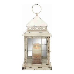 None - Antique Design Metal Glass Lantern - Create a peaceful atmosphere in your house or office by lighting this stylish lantern. Made from metal and glass, this lantern will reflect maximum light hence brightening up your decor. Its metallic layering will keep the glass intact and durable.