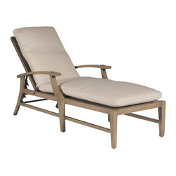 "Frontgate - Croquet Outdoor Chaise Lounge with Cushions - French Linen, Mahogany or Weathered finishes offer the appearance of fine wood. Adjusts to five positions. Generously proportioned durable aluminum frames accommodate plush outdoor cushions. Included Dream cushion's high density foam fill is crowned with a ""pillowtop"" of blown fiber. Cushions feature exclusive solution-dyed fabrics, created using only the finest materials and technology for longevity outdoors, including Sunbrella&reg. The Croquet Chaise Lounge by Summer Classics&reg is the perfect embodiment of the lawn game made popular by 19th century European gentry. Frame is hand-welded in durable aluminum and finished to resemble fine wood. Luxurious Dream cushions enhance the experience of relaxing in this generously proportioned, all-weather furniture. . . . . . Slatted aluminum seat back. Note: Due to the custom-made nature of the cushions, any fabric changes or cancellations made to the Croquet Collection must be made within 24 hours of ordering."