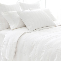 Pine Cone Hill - PCH Pintuck White Duvet Cover - Contemporary bedding gets a layer of elegance and sophistication with the Pintuck duvet cover. This beautifully textured style is created with the quality craftsmanship for which PCH is known. Available in twin, full/queen and king sizes; 100% cotton; White; Knife edge; Button closure; Insert not included; Designed by Pine Cone Hill, an Annie Selke company; Machine wash cold, tumble dry low