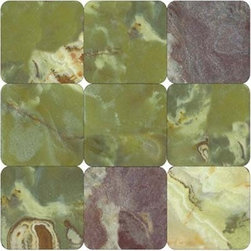Multi Green Tumbled Square Pattern Mesh-Mounted Marble Tiles - 4 in. x 4 in. Multi Green Mesh-Mounted Square Pattern Marble Mosaic Tile is a great way to enhance your decor with a traditional aesthetic touch. This tumbled mosaic tile is constructed from durable, impervious marble material, comes in a smooth, unglazed finish and is suitable for installation on floors, walls and countertops in commercial and residential spaces such as bathrooms and kitchens.