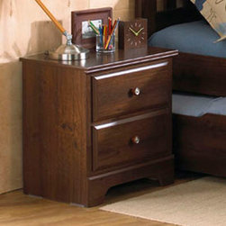 Standard Furniture - Standard Furniture Parker 2 Drawer Nightstand in Golden Brown Cherry - Parker Bedroom offers the perfect solution for rooms that have a smaller footprint, yet still need lots of storage. - 65957.  Product features: Design features include clean case profiles, lipped drawers with step shaped edges, smooth base line cuts and rounded top crowns. ; Parker's mid- height Loft Bed allows a twin size sleeping area up top with the Dresser and Bookcase fitting beneath, all in the same compact floor space. ; For safety there is a sturdy built-in side rail and stair unit with nonslip tread surface to access the loft sleeping area, which allows extra drawer storage within the stair end panel. ; For clothing storage there is a Double Dresser with Vertical Mirror, and a 5-Drawer Chest. ; Plus, there is a Bookcase cubby that doubles as an open Nightstand for the bedside. ; Twin and Full Size Panel Beds are also available, and have rounded tops that coordinate with the Vertical Mirror. ; Parker has sturdy folded case construction of durable engineered wood products with a warm golden brown cherry finish on pine grained laminate veneers. ; Its hardware is a wooden knob with a brushed nickel insert.; Surfaces clean easily with a soft cloth.; Surfaces clean easily with a soft cloth.. Product includes: Nightstand (1). 2 Drawer Nightstand in Golden Brown Cherry  belongs to Parker Collection by Standard Furniture.