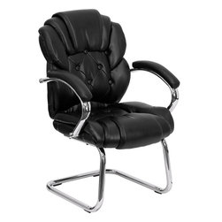 Flash Furniture - Flash Furniture Black Leather Transitional Side Chair w/ Padded Arms & Sled Base - This is the perfect transitional chair for the reception area or office side chair for guests. The tufted back and chrome sled base frame provides a sleek appearance. [GO-908V-BK-SIDE-GG]