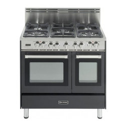 """Verona - VEFSGE365DE 36"""" Double Oven Dual Fuel Range  5 Sealed Gas Burners  2.4 cu. ft. O - The Verona VEFSGE365D 36 in 5-burner double oven duel fuel range offers flexibility and efficiency Chrome knobs and handles porcelain cast-iron grates and caps and EZ clean porcelain oven surface allow effortless glide so you can add check and remove..."""