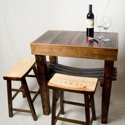 Barrel Stave Table and Wine Crate Stools