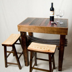 Barrel Stave Table and Wine Crate Stools - Ignite Images