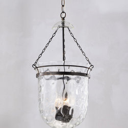 None - Antique Copper Finish Waved Glass Lantern Chandelier - You will love the style and appeal of this glass lantern chandelier featuring a classic antique copper finish and waved glass shade. This charming chandelier features an iron base and the three-light fixture will cast an elegant glow in any room.