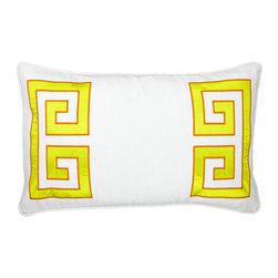 "NECTARmodern - Parenthetikey (citron) embroidered greek key lumbar throw pillow 20"" x 12"" - Sophisticated and minimal, an alternative take on the traditional Greek Key motif. White linen with yellow applique and orange embroidery edge detail. Designer quality cover with overstuffed feather/down insert."