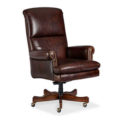 Randall Allan - Presidio Swivel Tilt - Take notice, all you captains of industry, colonels of household bills, and majors of liberal arts. This adjustable desk chair will help you get all your duties done. It has a high back and comfy rolled arms, upholstered in handsome brown leather for a first class, classic look.