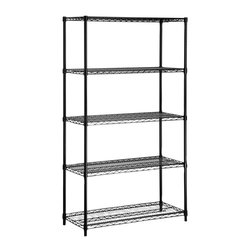 Honey Can Do - 5-Tier Steel Urban Adjustable Storage Shelvin - Color: BlackCreate visible and accessible storage space instantly. Perfect blend of style and functionality. Durable. Withstanding up to 350 lbs. per shelf. Adjustable shelves and stackable components. Lifetime limited warranty. Made from steel. Black finish. Assembly required. 36 in. L x 16 in. W x 72 in. H (36.35 lbs.)Durable enough for the home, garage, pantry, or commercial kitchen. Combine multiple units to create a customized storage wall. The no-tool assembly allows you to construct in minutes a shelving unit that will last for years.