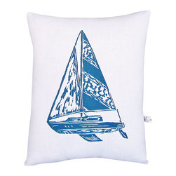 """artgoodies - Sailboat Squillow Pillow - A cute accent pillow for your couch, chair, or bed!  An original hand carved block print has been hand printed on 100% cotton, sewn together with coordinating vintage fabric, and filled with poly-fil. Measures 10.5"""" tall x 8.5"""" wide."""