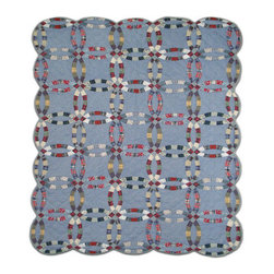 Patch Quilts - Denim Double Wedding Ring Quilt Twin 65 x 85 Inch - Intricate patchwork and beautiful hand quilting  - Bedding ensemble from Patch Magic  the name for the finest quality quilts and accessories  - Machine washable  - Line or Flat dry only Patch Quilts - QTDDWR