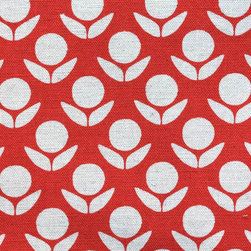 Stamped Circle Flowers Fabric, Red - Inspired by hand-block printing, this Japanese fabric is about as sweet as a modern pattern can be. I love the Scandinavian-inspired flowers, and I long to build a little girl's room around this design.