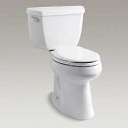 KOHLER - KOHLER Highline(R) Classic Comfort Height(R) two-piece elongated 1.28 gpf toilet - With its clean, simple design and efficient performance, this Highline water-conserving toilet combines both style and function. An innovative 1.28-gallon flush setting provides significant water savings of up to 16,500 gallons per year, compared to an ol