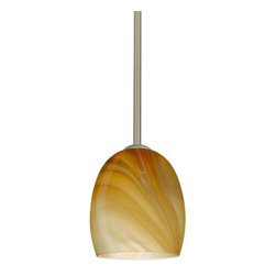 "Besa Lighting - Besa Lighting 1TT-1697HN-LED Lucia 1 Light LED Stem-Hung Mini Pendant - The Lucia is a curvy bell-bottomed shape, that fits nicely into any contemporary design. This unique decor is handcrafted, with layered swirls of yellow-amber and golden-brown against white, finished to a high gloss. It's classic swirl pattern and high gloss surface has a truly florid gleam. Honey is a hand-blown glass designed to have a shiny and polished finish. The glass is gathered and rolled into shape a unique pattern is formed that cannot be replicated. This blown glass is handcrafted by a skilled artisan, utilizing century-old techniques passed down from generation to generation. Each piece of this decor has its own unique artistic nature that can be individually appreciated. The stem pendant fixture is equipped with an adjustable telescoping section, 4 connectable stem sections (3"", 6"", 12"", and 18"") and low Profile flat monopoint canopy.Features:"